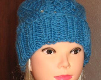 Hand knit hat Oversized Chunky Wool  Hat Blue hat slouchy hat blue cable hat Superwash Wool