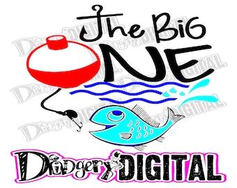 Instant Digital Download - SVG/PNG - The Big ONE - Fish Bobber Hook Line Waves Splash Fishing Buddy - Cut Print Make Cards Tees Decor