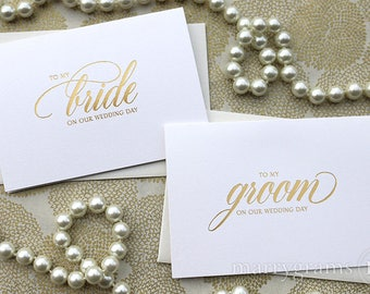 REAL GOLD FOIL Wedding Card to Your Bride or Groom To My On Our Wedding Day Cards Keepsake First Look Love Notes Script Vows (Set of 2) CS04