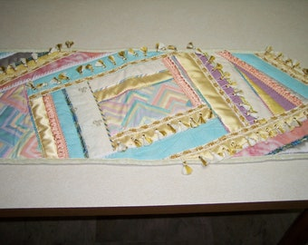 """Welcome Spring, Summer and any other season with the heavily embellished crazy quilted tablerunner which is 42"""" X 14"""""""
