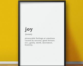 Joy Definition -  Definition poster print - Printable digital design - Instant digital download art decal - Word definition