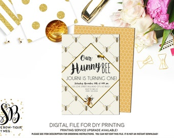 Vintage Bumble Hunny Bee CHANGE WORDING Personalized birthday invitation- ***Digital File*** (Bee-Vintage)