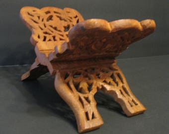 Hand Carved Wooden Folding Book Stand