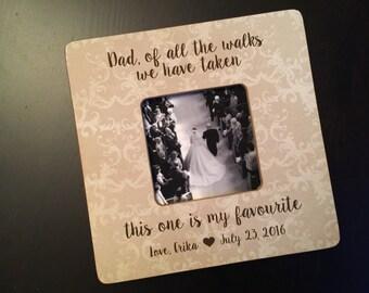 Père de la mariée cadeau père jour cadeau promenade préférée cadre papa personnalisé mariage cadeau 4 x 4 cadre de bois mariage souvenir photo en bois