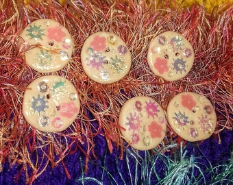 Hand made polymer  clay shiny buttons