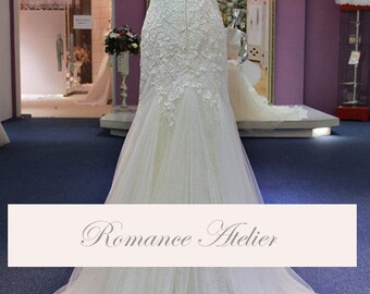 Dramatic, Lace, Wedding Gown, Bridal Gown, Fit and Flare, White, Ivory, Weddings, Blush, Organza