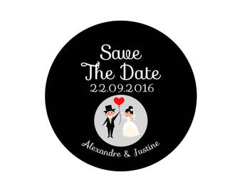"Button, mirror, bottle opener magnet wedding ""Save the Date"" black & white"