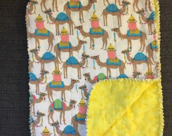 Single flannel camel burp cloth with yellow tie dye reverse