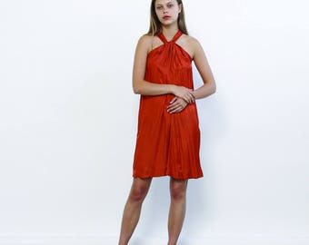 Tie Neck Summer Dress, Orange - Holidays Sale 50% off