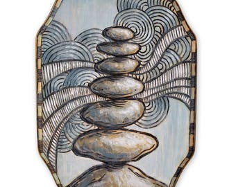 Rock Cairn Wood Burning Art, Acrylic Painting - Original