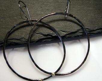 Large Black Hoop Earrings 14K Gold Pebble Gold Stud Sterling Silver Earrings Oxidized Rhodium Plated Hoops Silver Hoop Earring Boho Earring