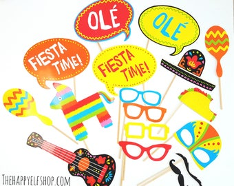 Fiesta party photo props- 17 PC. Photo booth prop. Fiesta. mexican photo prop. Taco bout a party. cinco de mayo prop. coco props. coco party