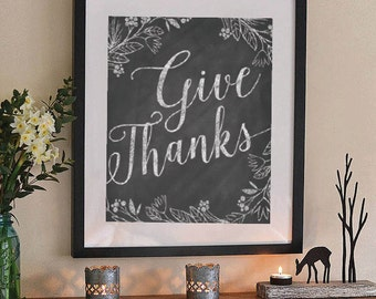 Fall printable Thanksgiving wall art Give thanks chalkboard typography DIGITAL FILE