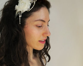 Bridal headband wreath with lace, flowers,beads, Acrylic pearls and natural pearls, Vintage Boho Bohemian wedding hair accessories.