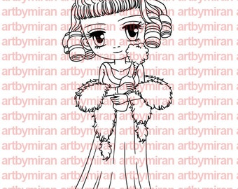 Digital Stamp - Charlotte(#141), Digi Stamp, Coloring page, Printable Line art for Card and Craft Supply