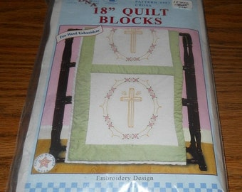 "20% Off Jack Dempsey Needle Art Kit~18"" Quilt Blocks~Cross Design~#732 Pattern 487"