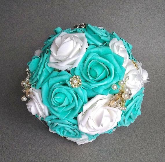 Quinceanera bouquet robin\'s egg blue bouquet aqua gold