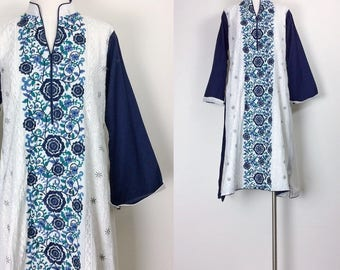 vintage Indian dress Indian cotton Gauze dress embroidered dress white blue women's size S/M