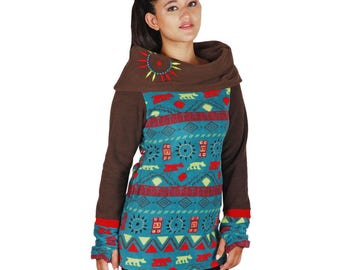 Women's printed polar fleece dress with contrasting high collar and sleeves, patchwork and embroidery.