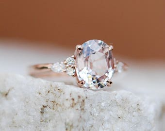 Moody Engagement Ring. 2ct Color change sapphire ring. Rose gold engagement ring Campari ring oval ring Sapphire ring by Eidelprecious