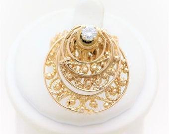 "Vintage 14kt Gold Diamond ""Spinner"" Ring"