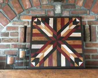 reclaimed wood wall art - wood quilt wall art - farmhouse decor - barn star - quilts - geometric wood wall art - wood wall art - wall art