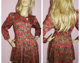 Vintage 80s RED FLORAL Print WINTER Tea dress 10-12 S M 1980s