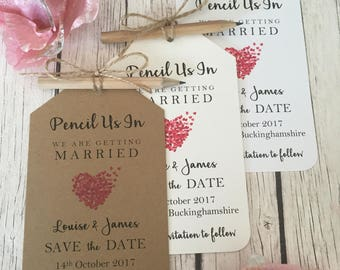 Vintage/Rustic Pencil Us In Vintage/Rustic Wedding Save the Date tags, pencil, twine