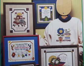 Leave 'Em In Stitches/Counted Cross Stitch Patterns by Stoney Creek/Samplers/Pillows/Sweatshirts/Wall Hangings/1997