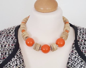 Statement necklace for women Orange Coconut Big Beaded Ethnic tribal coral choker chunky necklace Bohemian Designer jewelry clothing gift