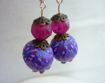 Earrings with violet and fuchsia polymer bead  handmade