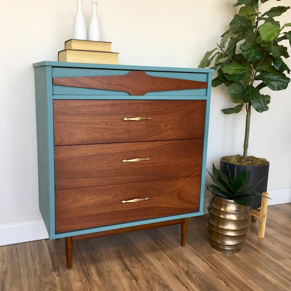 Teal Dresser - Mid Century Modern - Vintage Chest of Drawers - Painted Furniture - Bedroom Drawers - 60s Furniture - 4 Drawer Chest - MCM
