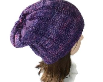 Purple slouch hat. Slouchy knit beanie. violet slouchy beanie. slouchy knit hat. slouch beanie. boho beanie. Australian wool. hand dyed wool