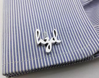 Personalized Cufflinks - Father's day gift - Initial Cufflink - Groom Wedding Cufflinks -Letters Cufflinks -  Initials Cufflinks