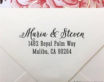 Return Address Stamp, Self Inking Return Address Stamp, Custom Wedding Stamp, Wooden Stamp, Eco Rubber Stamp, Personalized Wedding Stamp
