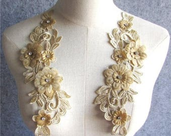 """3D Embroidered Silk Appliques Champagne Floral Mirror Pair With Rhinestones 9"""" (GB547X-chpcr)"""