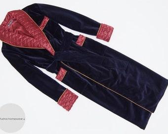 Navy Velvet Men's Dressing Gown Heavy Warm Quilted Silk Collar Smoking Jacket Blue Luxury Gentleman Robe Full Length Big Size Cotton Elegant