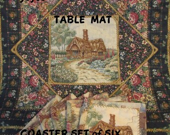 TABLE MAT,  COASTERS, Set of Six, Country Decor, Cottages Theme,  Shabby Chic,  Home Décor,  Gifts for Women, Stocking Stuffer, Hostess Gift