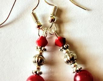 Ruby red Jade earrings
