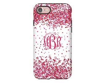 Monogram iPhone 8 case, pink confetti iPhone 8 Plus case, iPhone X case, iphone 7/7 Plus/SE/6s/6s Plus/6/6 Plus, Valentine gift