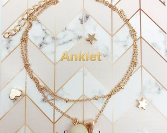 Personalized/Initial letters+100% handmade charm Solid gold Bracelet/Anklet/Necklace