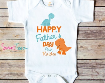 Happy Father's Day shirt Dino Daddy Shirt Dinosaur Baby Boy Girl Bodysuit Personalized