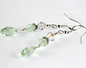 Swarovski Crystal Briolette Earrings, Light Green Earrings, Crysolite Green, Mother of the Bride