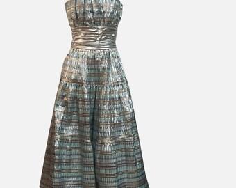 1980s Metallic Taffeta Strapless Party Dress