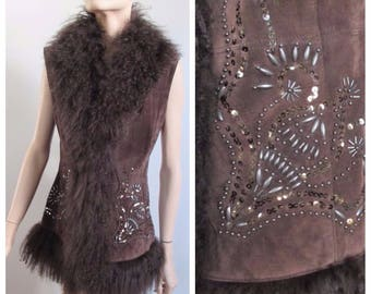 1970's Mongolian Lamb Fur Vest Brown Suede Beaded by Betty Barclay Size Small