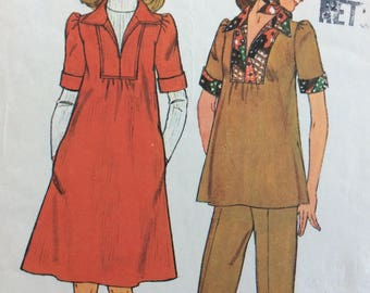 Simplicity 7153 misses maternity dress or top, pants & scarf size 14 and 16, bust 36 - 38 vintage 1970's sewing pattern