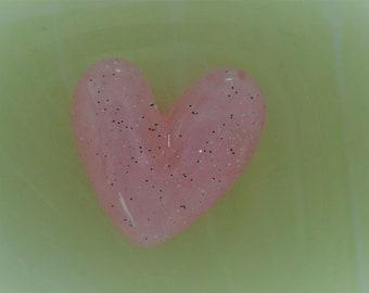 glittery pink heart cabochon
