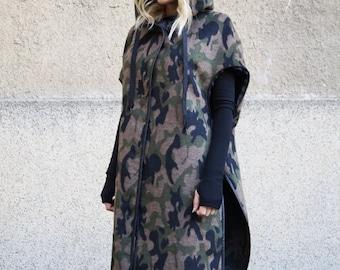 Camouflage Wool blend Coat/Winter Cape Coat/Cashmere Wool blend Coat/Removable sleeves/Winter Coat/Asymmetrical Coat /Convertible Coat/F1663
