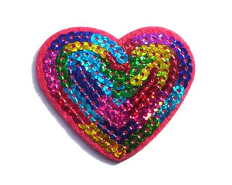 Sequin Heart Patch, Rainbow Sequin Pink Heart Iron on Patch with Opalescent Sequins