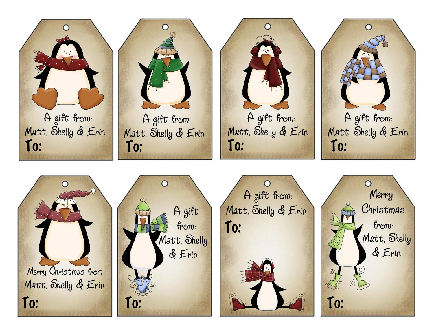 Printable personalized winter penguins christmas gift tag set zoom negle Gallery